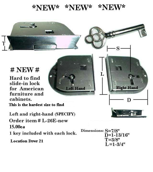 Drawer or Cabinet locks-L26-E ... - Locksandkeys