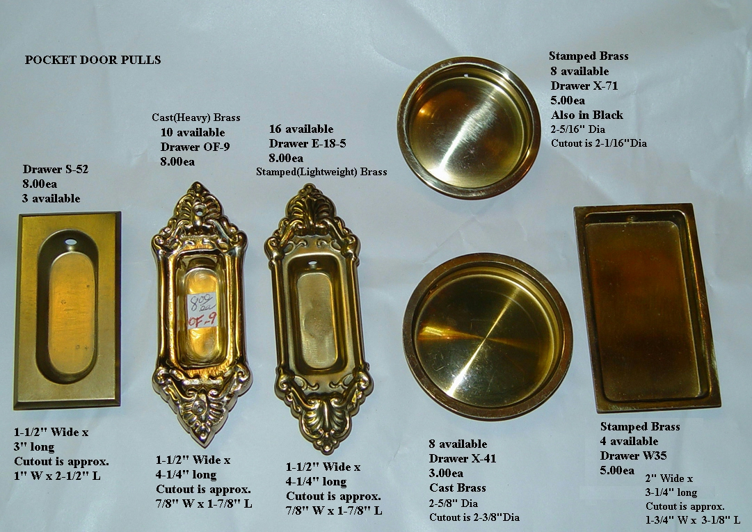 Old-Fashioned Door Hardware Parts · Small Pocket Door Handles - Hardware